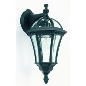 Drayton Single Outdoor Wall Light Black/Clear Glass Finish