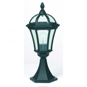 Drayton Single Outdoor Pedestal Black/Clear Glass Finish