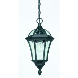 Drayton Single Outdoor Pendant Black/Clear Glass Finish