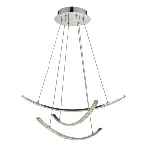 Dar ZAN0350 Zancara 3 Light Pendant Polished Chrome/Crystal LED Finish