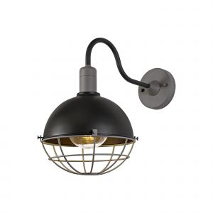Nu Zip Wall Lamp, 1 Light E27, IP65, Matt Black/Grey, 2yrs Warranty