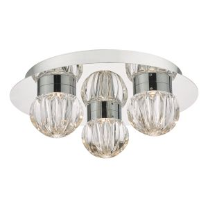 Dar ZON5350 Zondra 3lt Flush Bathroom LED Polished Chrome/Glass Finish