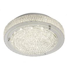 2713CC Flush LED Ceiling Flush (Diameter 30Cm), Chrome, Clear Crystal Centre Deco