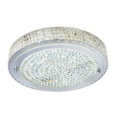 2714CC (Dim) Flush LED Ceiling Flush (Diameter 40Cm), Chrome, Clear Crystal Centre Deco