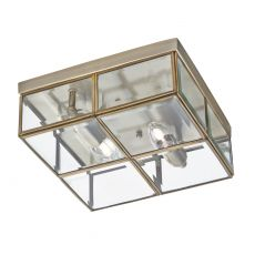 6769-26AB Flush - 2 Light Flush Box, Antique Brass With Clear Bevelled Glass Panels