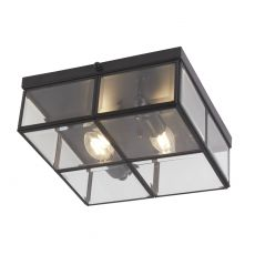 6769-26BK Flush - 2 Light Flush Box, Black With Clear Bevelled Glass Panels