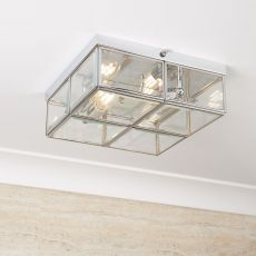 6769-26CC Flush - 2 Light Flush Box, Chrome With Clear Bevelled Glass Panels