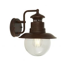 Station 1 Light Outdoor IP44 Wall/Porch Light In Rustic Brown With Clear Acrylic Globe
