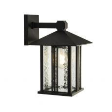 Venice 1 Light Outdoor IP44 Wall Light In Black With Water Effect Glass