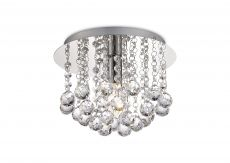Deco D0141 Acton Flush Ceiling 1 Light E14, 250mm Round, Polished Chrome/Sphere Crystal