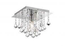 Deco D0142 Acton Flush Ceiling 1 Light E14, 250mm Square, Polished Chrome/Prism Crystal