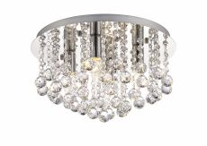 Deco D0143 Acton Flush Ceiling 4 Light E14, 380mm Round, Polished Chrome/Sphere Crystal