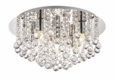 Deco D0145 Acton Flush Ceiling 5 Light E14, 460mm Round, Polished Chrome/Sphere Crystal