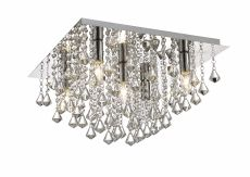 Deco D0146 Acton Flush Ceiling 5 Light E14, 460mm Square, Polished Chrome/Prism Crystal