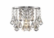 Deco D0161 Acton Wall Lamp 1 Light E14 Switched Polished Chrome/Prism Crystal
