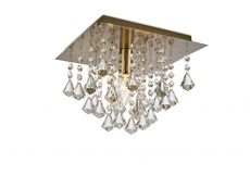 Deco D0186 Acton Flush Ceiling 1 Light E14, 250mm Square, Antique Brass/Prism Crystal