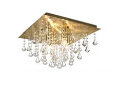 Deco D0188 Acton Flush Ceiling 4 Light E14, 380mm Square, Antique Brass/Prism Crystal