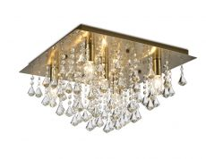 Deco D0190 Acton Flush Ceiling 5 Light E14, 460mm Square, Antique Brass/Prism Crystal