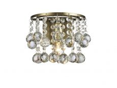 Acton Wall Lamp 1 Light E14 Switched Antique Brass/Sphere Crystal