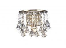 Deco D0192 Acton Wall Lamp 1 Light E14 Switched Antique Brass/Prism Crystal