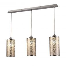 Deco D0134 Charon Circle Pattern Pendant 3 Light E27 Linear Polished Chrome