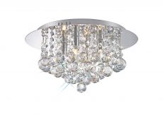 Deco D0002 Dahlia Flush Ceiling, 350mm Round, 4 Light G9 Polished Chrome/Crystal