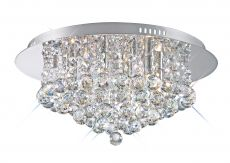 Deco D0003 Dahlia Flush Ceiling, 450mm  Round, 6 Light G9 Polished Chrome/Crystal