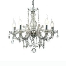 Deco D0020 Gabrielle Chandelier With Glass Sconce & Glass Droplets 5 Light E14 Polished Chrome Finish